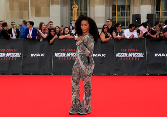"""Cast member Angela Bassett poses during a photocall for the world premiere of """"Mission: Impossible - Fallout"""" in Paris"""