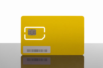 Modern yellow sim card with reflection