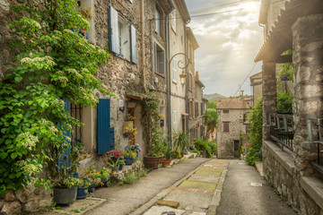 Old streets of the historical part of the French town Villeneuve Loubet