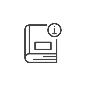 Information book outline icon. linear style sign for mobile concept and web design. Info ebook simple line vector icon. Manual symbol, logo illustration. Pixel perfect vector graphics