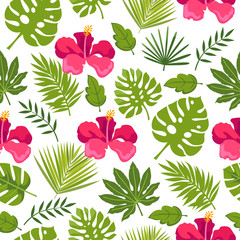 Seamless floral background with pink flowers. tropical plants and flowers. vector illustration