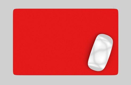 Rectangular Blank mouse pad with computer mouse for branding or design presentation. 3d render illustration.
