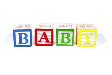 Colorful wooden blocks spell Baby