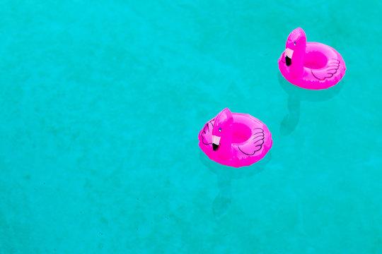 floating flamingos in pool