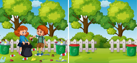 Before and After Kids Cleaning Park