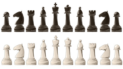 Set of chess pieces with elements graphic arts sketch.