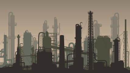 Horizontal brown illustration industrial part of city.