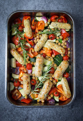 Vegetable Sausage Tray Bake with Rosemary