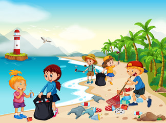Volunteer Children Cleaning Beach