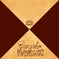 Ganesh Chaturthi. Indian festival. Handmade text. Elephant head, paisley, dagger, lotus. The background is divided by a diagonal. Place for your text