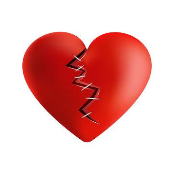 3D broken heart on warm