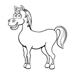 Horse cartoon outline drawing, coloring, sketch, silhouette, vector black and white line illustration. Funny cute painted animal isolated on white background, animated character, children print
