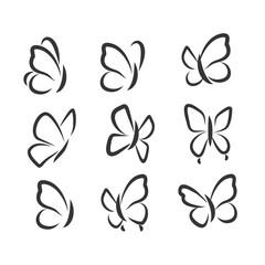 Butterflies icons set