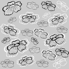 white and black flowers on the gray background