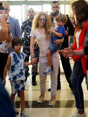 Colombian singer Shakira is seen during her arrival to the airport with her kids in Beirut