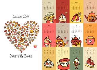 Cakes and sweets, calendar 2019 design