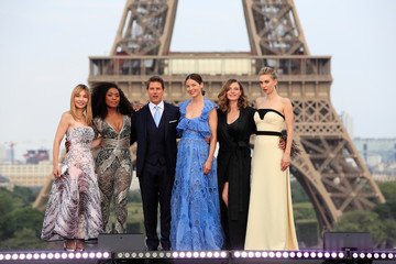 "Cast members Tom Cruise, Alix Benezech, Angela Bassett, Michelle Monaghan, Rebecca Ferguson and  Vanessa Kirby pose during the world premiere of the film ""Mission: Impossible - Fallout"" in Paris"