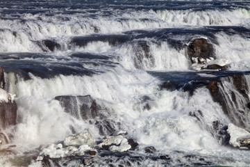 The mighty currents of the Gullfoss waterfall