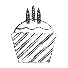 sweet cupcake with candles isolated icon