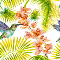 Seamless pattern with orchid flowers, hummingbird watercolor