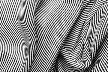 Elegant black and white silk with stripes, abstract background.