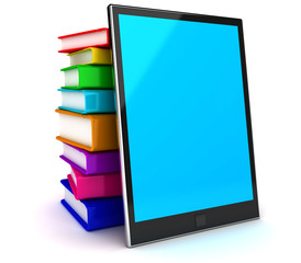 Tablet pc and textbooks. Education online.