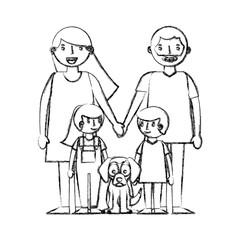 happy family with dog mascot avatars characters