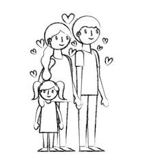 happy family with hearts avatars characters