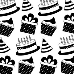 gift box present with sweet cakes and hat party icon pattern