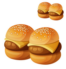 Kids burgers sliders isolated on white background. Detailed vector icon