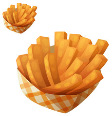 Sweet potato fries in paper box. Vector icon isolated on white background