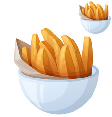 Sweet potato fries. Detailed vector icon isolated on white background