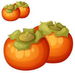 Persimmon fruit. Cartoon vector icon isolated on white background. Series of food and drink and ingredients for cooking.
