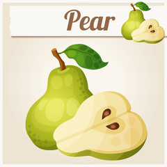Green pear.  Cartoon vector icon. Series of food and drink
