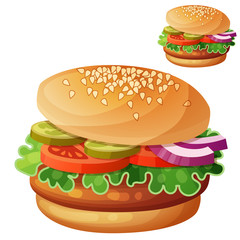 Hamburger. Cartoon vector icon isolated on white