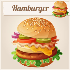 Hamburger. Food vector icon