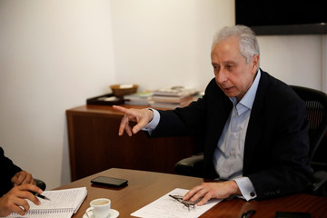 Persio Arida, top economic adviser for Alckmin, pre-candidate for Brazil's presidential election, talks during an interview with Reuters in Sao Paulo