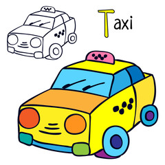 Taxi. Coloring book page. Cartoon vector illustration