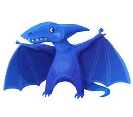 Toy flying dinosaur 7 isolated on white background. Cartoon vector illustration. Series of children's toys