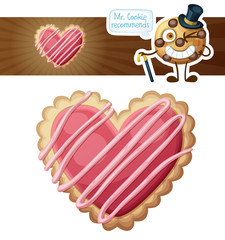 Heart sugar cookies illustration. Cartoon vector icon isolated on white background