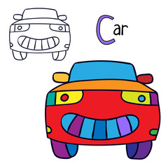 Car. Coloring book page. Cartoon vector illustration