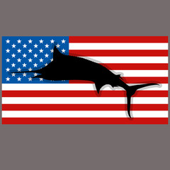 silhouette marlin fish on background usa flag