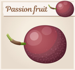 Passion fruit Maracuja illustration. Cartoon vector icon