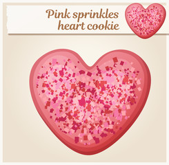 Pink sprinkles heart cookie illustration. Cartoon vector icon. Series of food and drink and ingredients for cooking