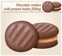 Chocolate cookie with peanut butter filling illustration. Cartoon vector icon. Series of food and drink and ingredients for cooking.