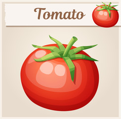 Whole tomato vegetable. Cartoon vector icon. Series of food and drink and ingredients for cooking