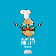 International chef day vector greeting card. vector funny cartoon tiny brown smiling chef potato with hat isolated on blue background.