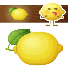 Whole lemon fruit illustration. Cartoon vector icon isolated on white background. Cute lemon character. Series of food and drink and ingredients for cooking