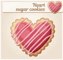 Heart sugar cookies illustration. Cartoon vector icon. Series of food and drink and ingredients for cooking.
