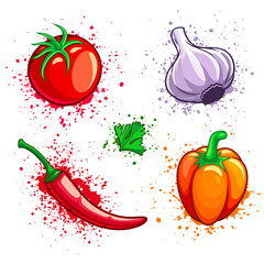 Set of fresh organic vegetables. Cherry tomato, cayenne pepper.